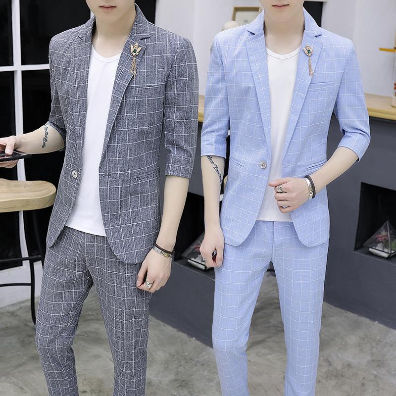 套装男外套春夏韩版中袖西服发型师修身潮流v套装七分袖薄款小西装