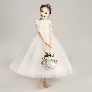 Girls white flower girl wedding princess dress fluffy yarn children's piano costumes little girl birthday evening dress summer