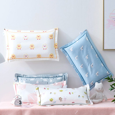 Nordic cartoon 60 long-staple cotton children's pillowcases reactive printing and dyeing cotton pillowcases baby pillowcases removable and washable