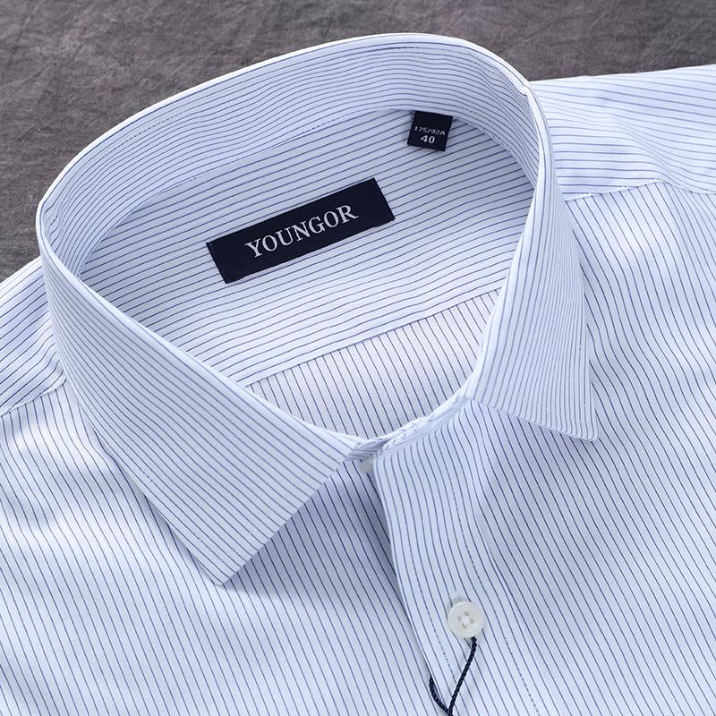 雅戈尔衬衫免烫蓝色衬衣新款男正装长袖商务条纹纯棉YLDP16205HBA