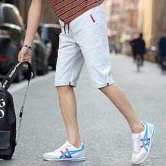 男士休闲短裤男学生夏天修身中裤子韩版休闲六分裤薄款直筒潮马裤