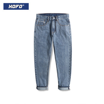 Trendy Retro Washed Hong Kong Style Loose Light-colored Casual Pants Red Ear Denim Jeans Men's Straight Pants