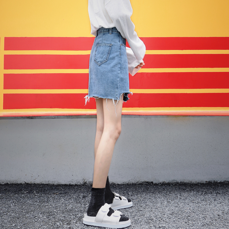 chic高腰牛仔短裙女夏2018新款ins超火裙子a字包臀裙不规则半身裙