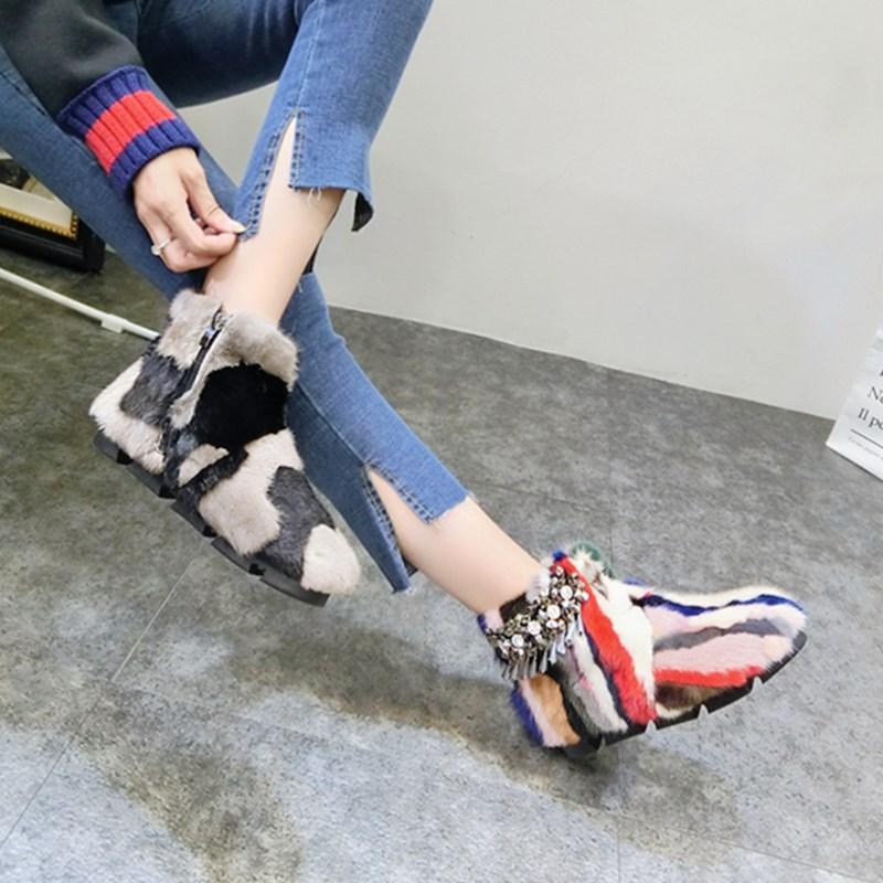 欧洲站冬季新款靴子毛毛鞋加绒女鞋流苏短靴及踝水钻棉雪地水貂潮