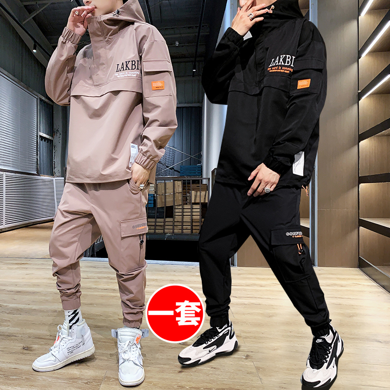 Coats Men's Autumn and Winter Sports Casual Set 2019 New Korean Version of the trend of spring and autumn wearing clothes.