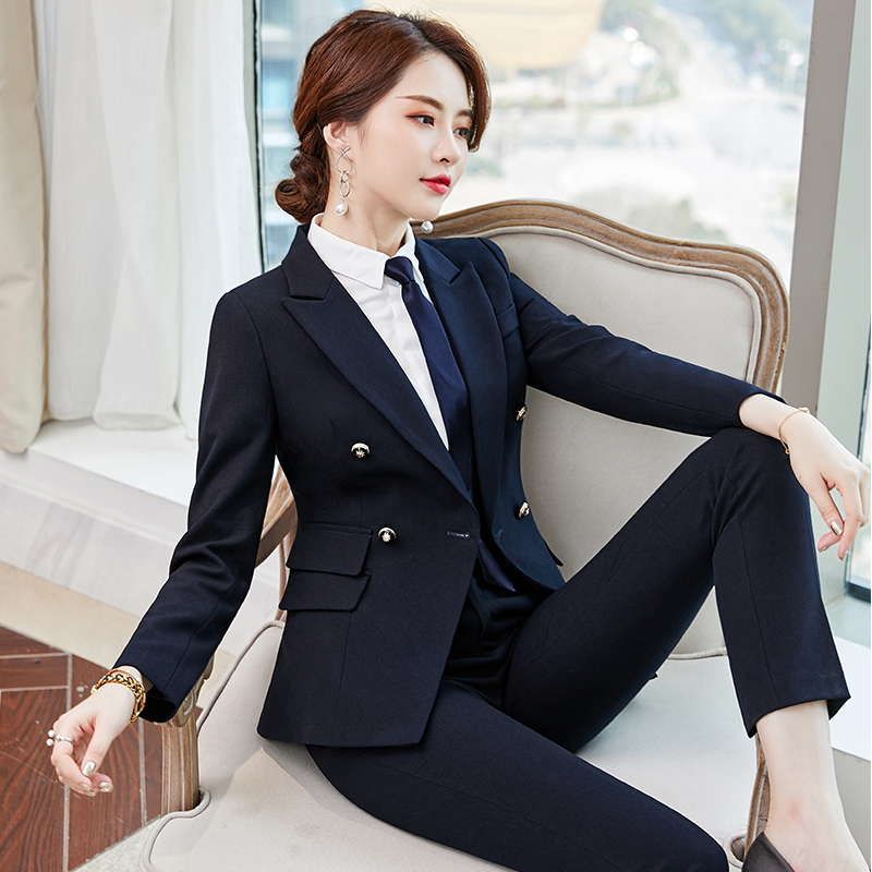 High-end occupation wear temperament goddess fan 2019 autumn fashion beauty salon work clothes hotel front desk tooling suit