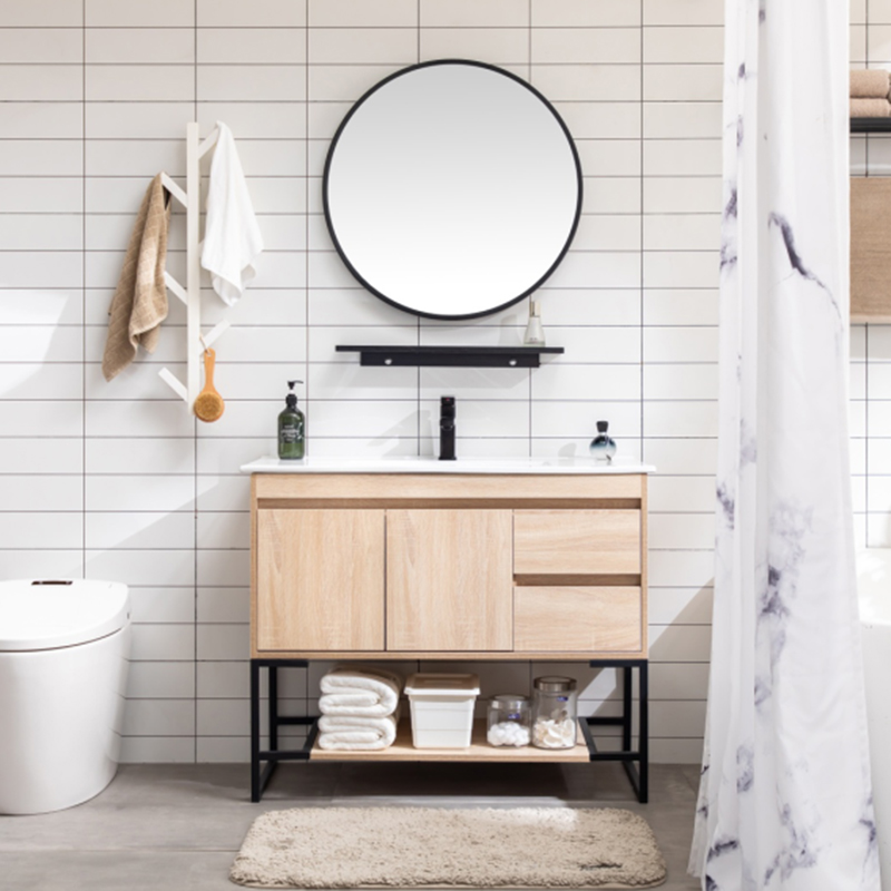 Nordic modern minimalist washbasin toilet wash table floor-to-ceiling bathroom cabinet combination small household washbasin