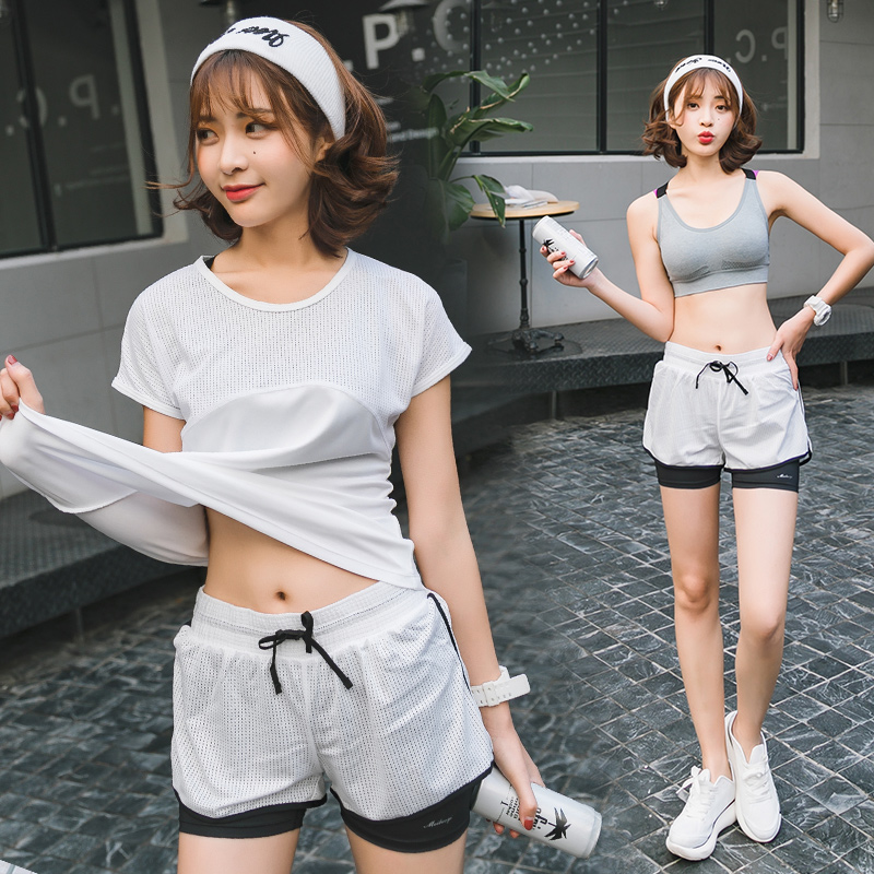 White three-piece suit (short sleeve + bra + shorts)