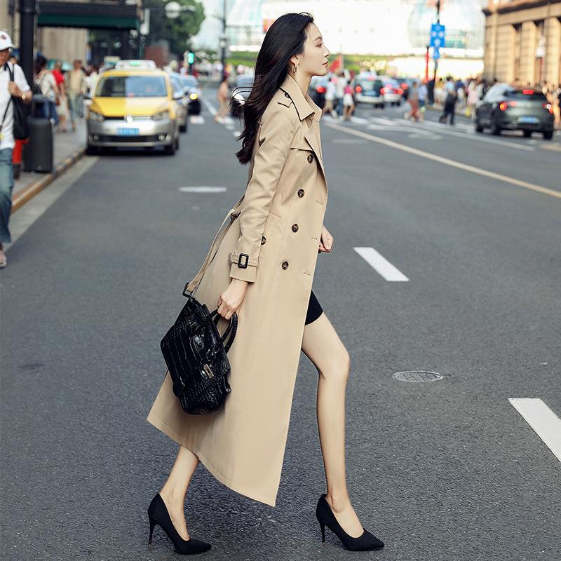 2020秋季新款卡其色风衣外套女中长款过膝时尚英伦风修身春秋大衣