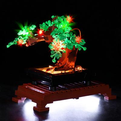兼容乐高灯光版盆景盆栽迎客松10281高难度拼装积木玩具家居摆件