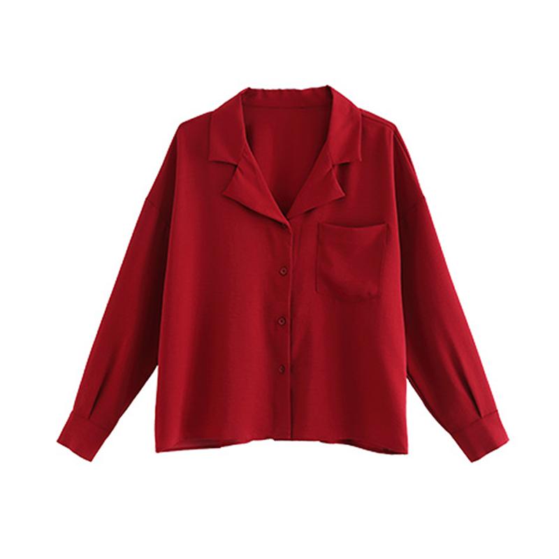 原水v领韩版雪纺衬衫女长袖设计