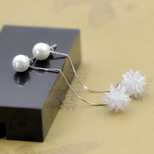 【女神必备】990足银冰花长条耳环