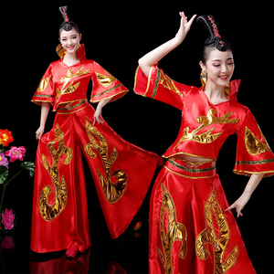 Chinese folk dragon lion dance costumes for women Yangko costume waist drum team drum dance dresses