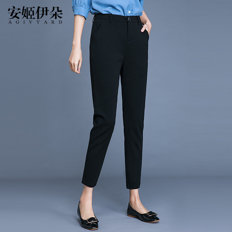 休闲小西裤女秋季高腰哈伦裤显瘦萝卜裤红色裤子女2018新款九分裤