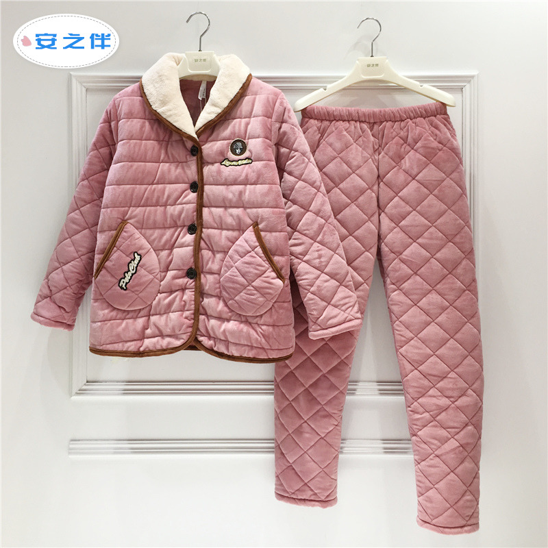 Special cabinet ann accompanied by coral velvet sandwich cotton pajamas women winter thickness three layers of warm flannel cotton wool winter home clothes