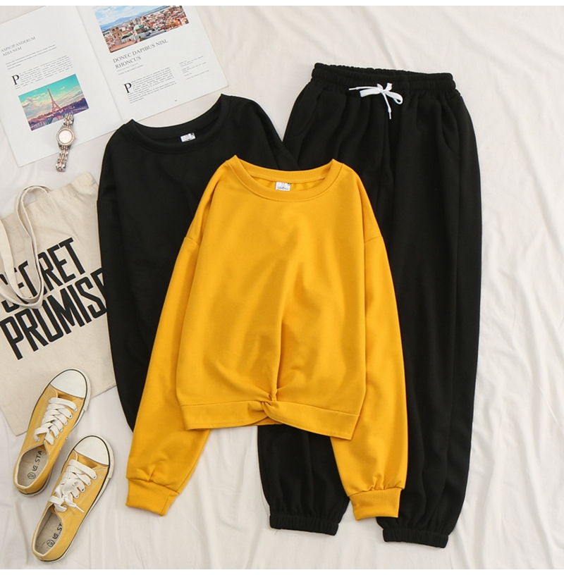 Net-a-Go sports suit women's autumn 2020 new Korean version of loose fashion style air-reducing thin casual two-piece set 37 Online shopping Bangladesh