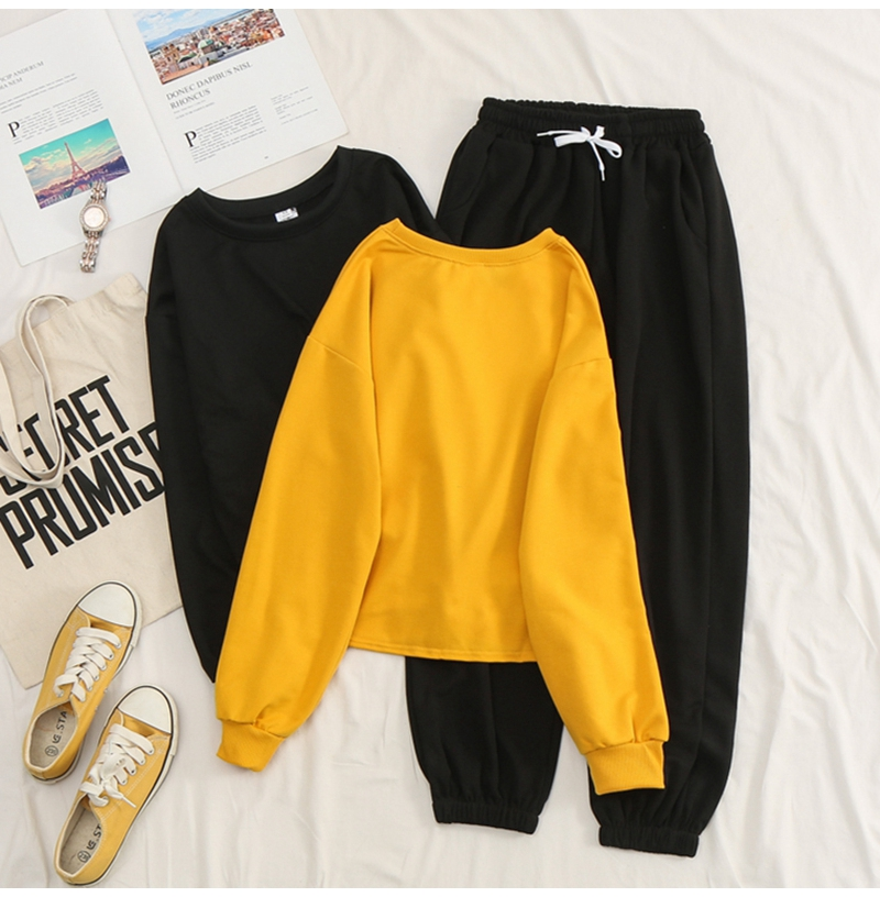 Net-a-Go sports suit women's autumn 2020 new Korean version of loose fashion style air-reducing thin casual two-piece set 38 Online shopping Bangladesh
