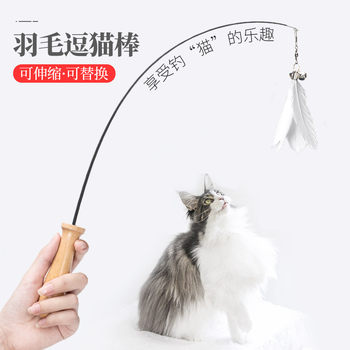 Retractable cat stick long stick anti biting cat toy cat supplies kitten bell feathers replace fairy stick