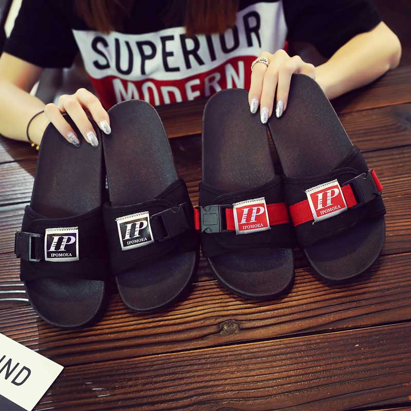 9bf8eba2f Korean version of the slippers male Summer fashion wear 2019 new non-slip  personality couple word drag beach shoes tide sandals men