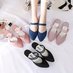 2020 new women's Baotou sandals and slippers, women's summer wear, fairy fashion, net celebrity, thick heel, one pair of shoes