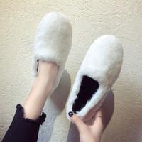2019 новая коллекция Горох обувь женская дикая замшевый ботинки с утеплением Осенняя обувь осень-зима Носите пушистую обувь вне сезона