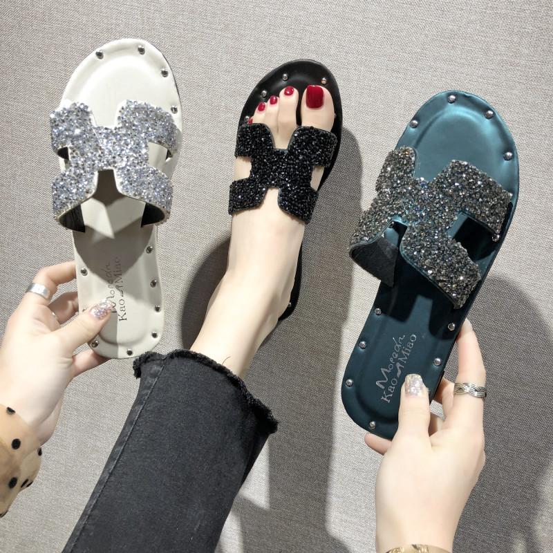 韩版2019夏季新款时尚外穿h拖鞋女水钻网红平底一字拖沙滩凉拖女