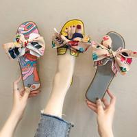 Нетто красный Сандалии женские летней одежды 2020 новая коллекция популярный дикий бантики Узел ч тапки женщина на плоской подошве слово Пляжная обувь