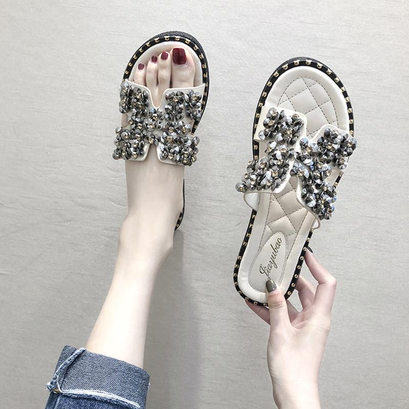 H拖鞋女2019新款夏季凉鞋网红沙滩鞋平底h凉拖时尚外穿水钻一字拖