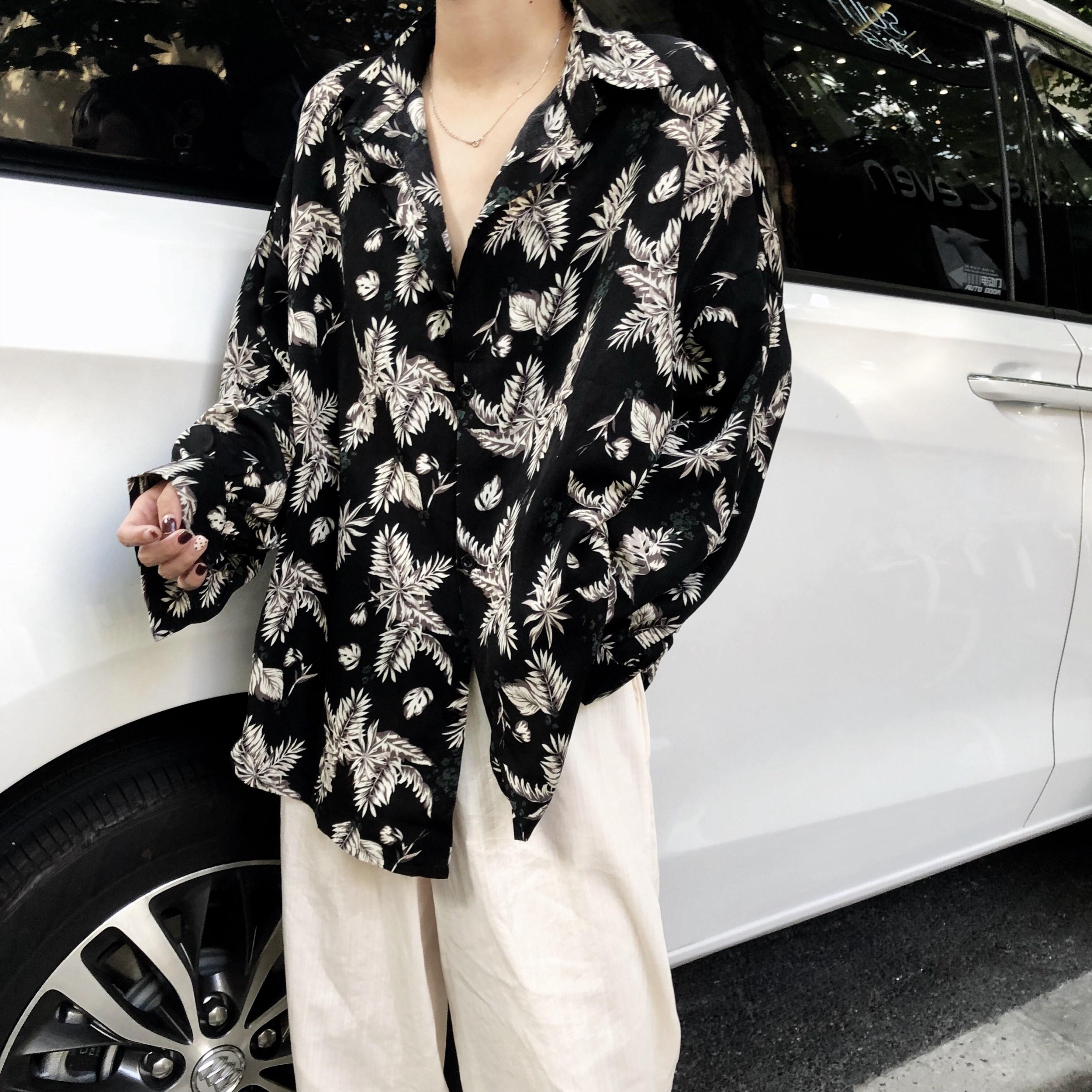 秋季韩版chic大码女装胖MM复古树叶印花衬衫外套长袖防晒衬衣开衫
