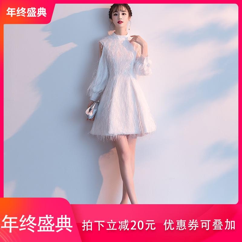 白色小礼服裙2019新款秋冬季平时可穿仙女伴娘礼服宴会连衣裙短款