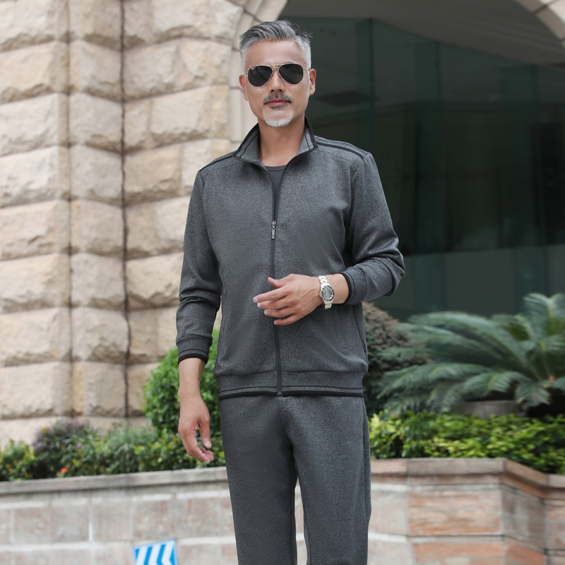 爸爸外套秋装套装3件套中老年运动服男装