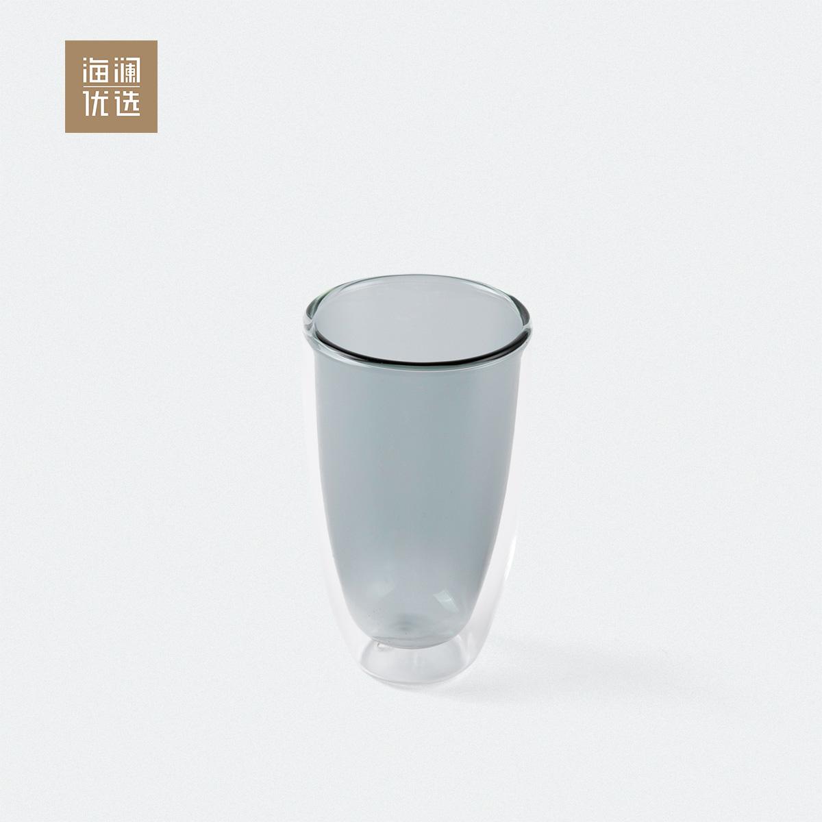 高硼硅玻璃隔热耐热果汁咖啡泡茶无把双层杯子300ml海澜优选