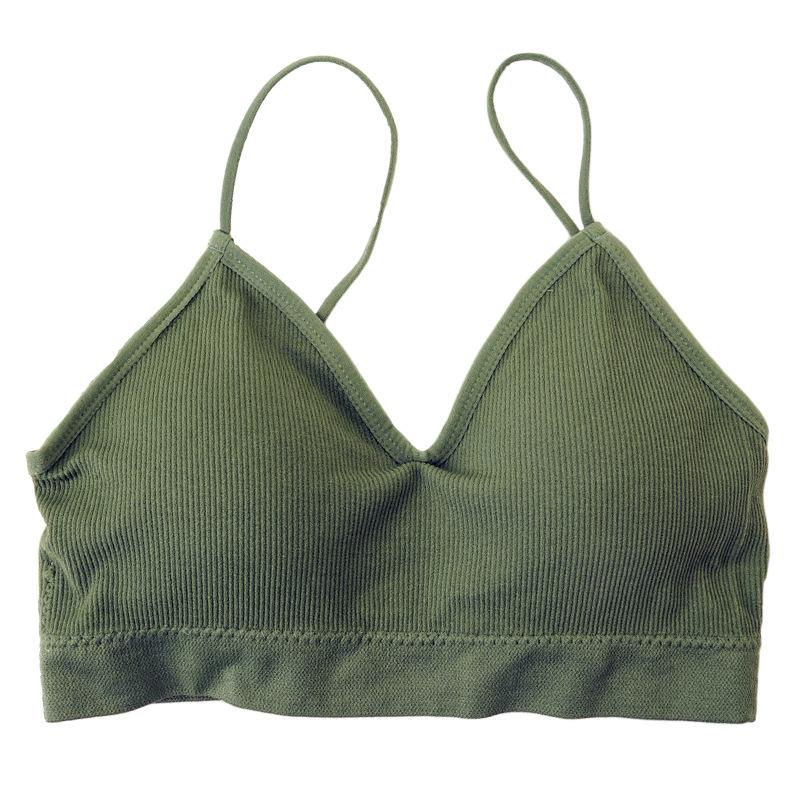 简单款纯色螺纹无钢圈文胸吊带舒适内衣运动聚拢防震瑜伽裹胸春夏