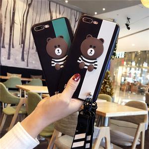 韩风条纹小熊vivox9s挂绳全包手机壳