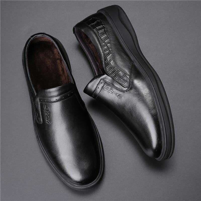 冬季鞋棉鞋男秋冬商务皮鞋男士真皮中老年加绒保暖爸爸鞋潮鞋子男