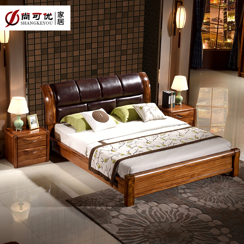 烏金木雙人床1.8米現代中式主臥家具床全實木軟包靠背真皮床大床