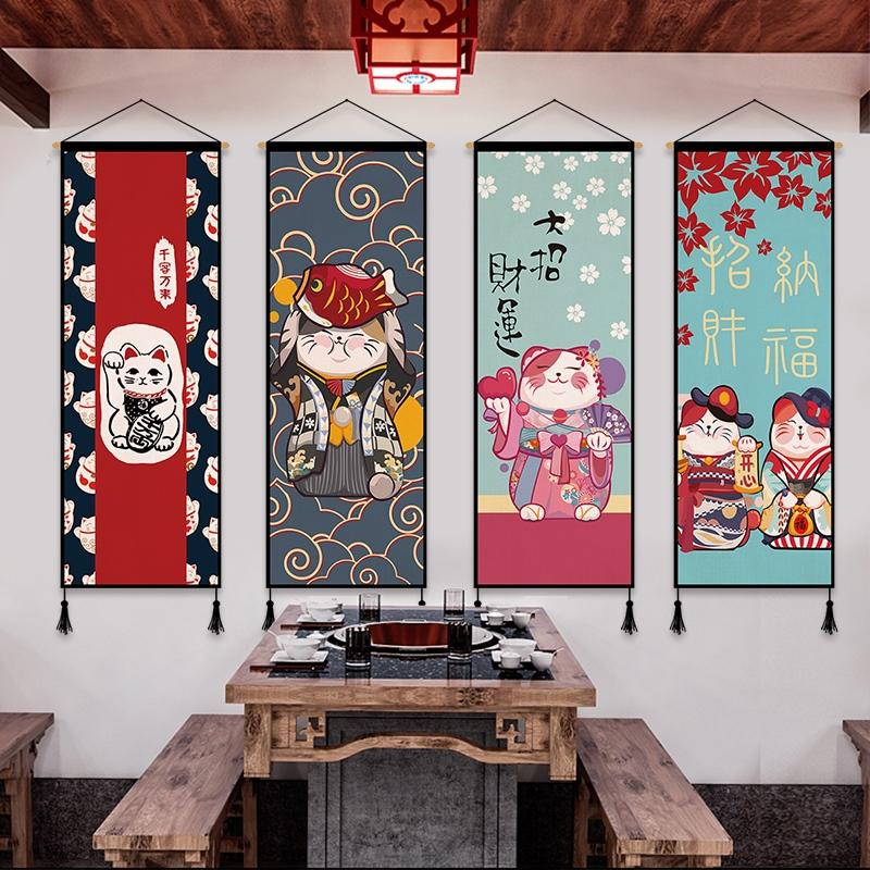 Nhật Bản may mắn mèo vải nghệ thuật treo tranh trang trí tường quán trọ nhà hàng trang trí sơn nhà hàng treo cờ đầu giường treo vải treo cờ - Tapestry