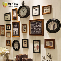 INS photo wall solid wood photo frame hanging wall combination personality Photo Wall decoration