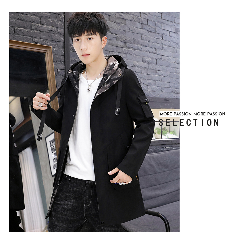 Men's windshield spring and autumn fashion wave brand handsome clothes 2020 new winter plush warm jacket medium long jacket 61 Online shopping Bangladesh