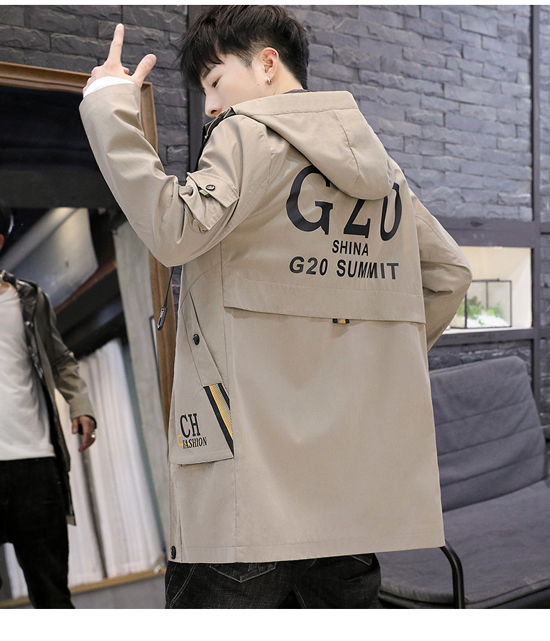 Men's windshield spring and autumn fashion wave brand handsome clothes 2020 new winter plush warm jacket medium long jacket 60 Online shopping Bangladesh