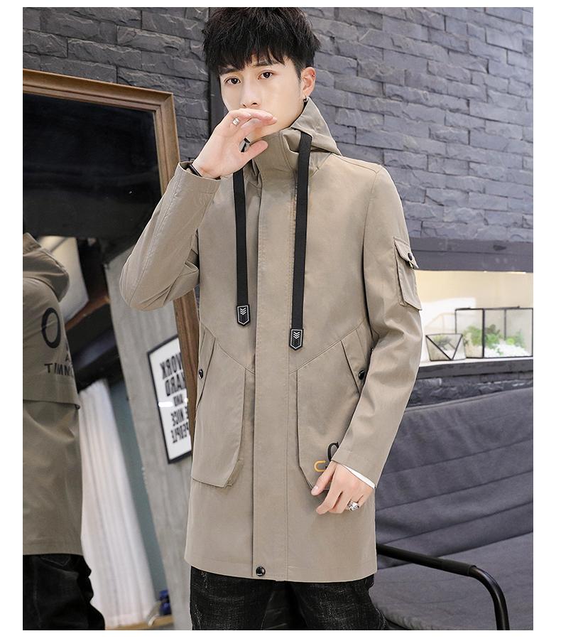 Men's windshield spring and autumn fashion wave brand handsome clothes 2020 new winter plush warm jacket medium long jacket 59 Online shopping Bangladesh