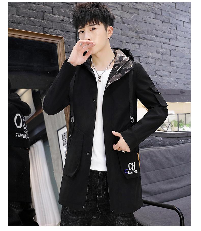 Men's windshield spring and autumn fashion wave brand handsome clothes 2020 new winter plush warm jacket medium long jacket 63 Online shopping Bangladesh