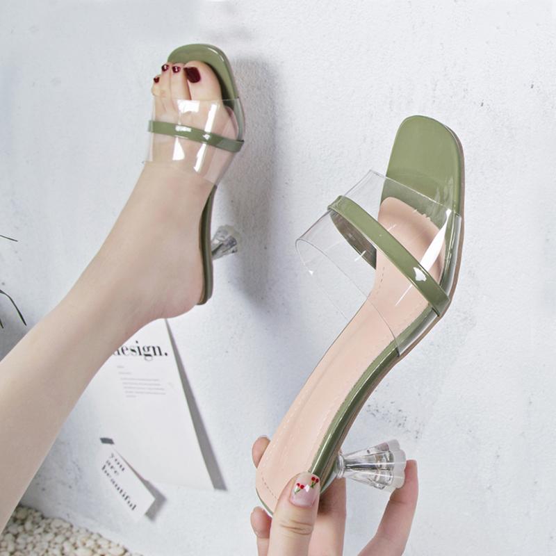 拖鞋女夏时尚外穿2019新款百搭水晶鞋透明一字拖高跟网红细跟凉拖