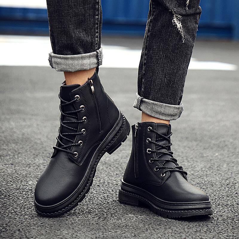 2019新款马丁靴男高帮韩版潮流百搭黑色短靴男士中帮英伦风皮靴子