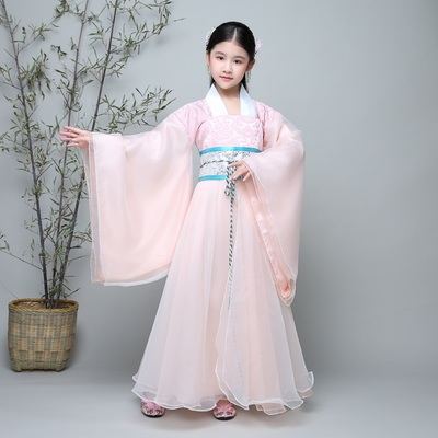 Children's costume, female Hanfu, girl, zither, skirt, fresh and elegant, performance, costume, imperial fairy dress.