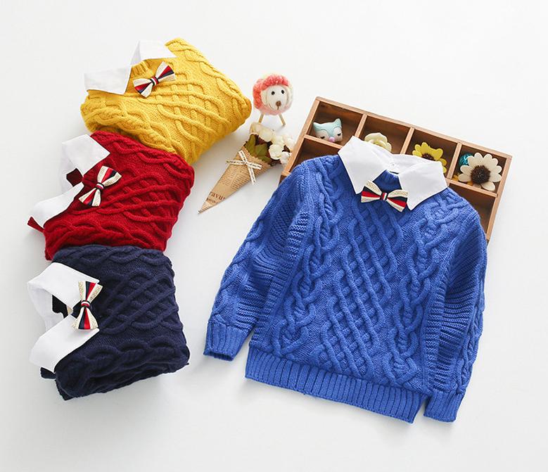 2019新款中男童韩版毛衣针织女童小童衬衫假两件手工领加绒针织衫