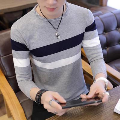 Mùa xuân và mùa thu nam Áo len mỏng tuổi teen Hàn Quốc Slim sọc đáy áo sơ mi nam cổ tròn áo len - Kéo qua