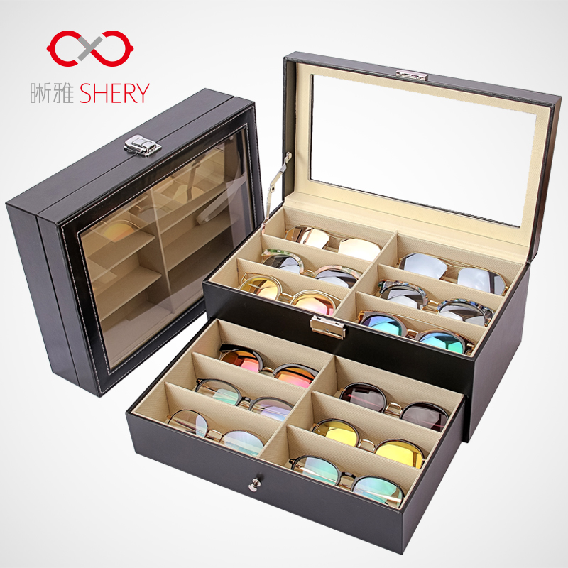 45988499e869 Glasses storage box multi-grid large capacity double travel sunglasses sun  eye box 8 grid 12 grid glasses display box