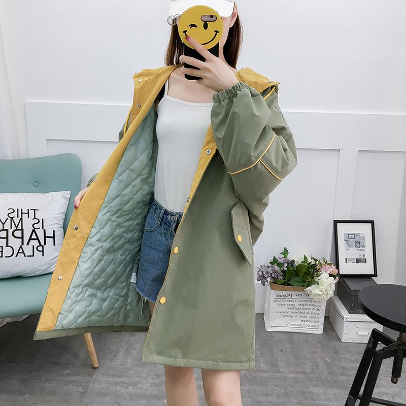 学生女秋冬加绒加厚2018新款韩版宽松长款外套高中初中冬季棉风衣