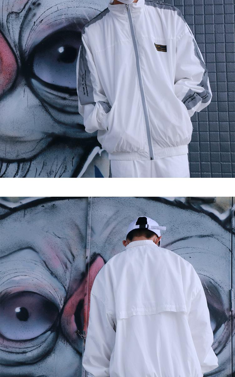 Cổng mùa xuân gió đường phố retro chuỗi 3 M áo phản quang nam giới và phụ nữ tím áo gió INS cùng một đoạn X hip hop áo khoác